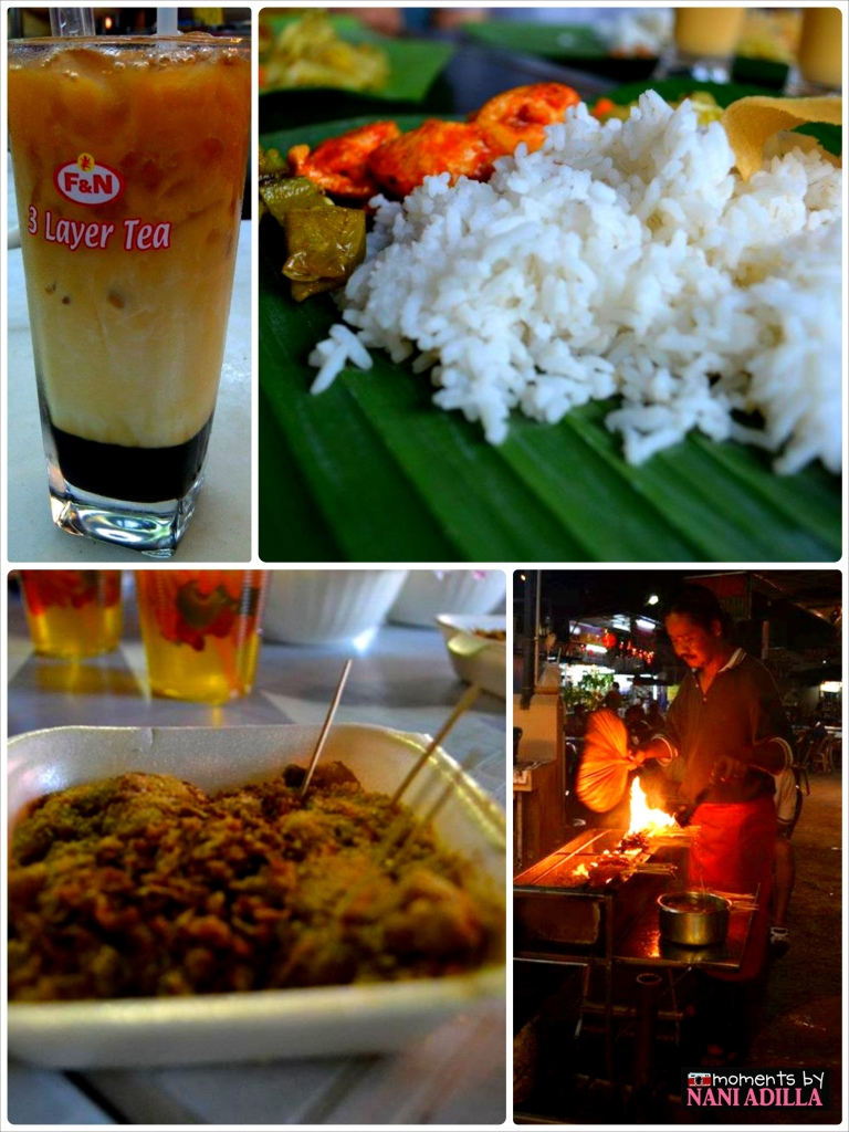 Penang street food: 3 layer tea, Indian served on banana leaf, Muah Chee and satay