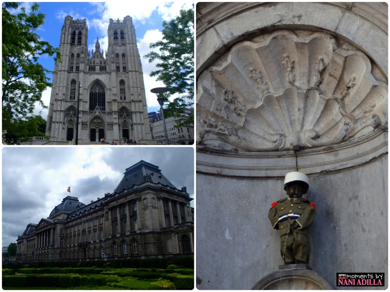 1) St. Michael and Gudula Cathedral, 2) The Royal Palace, 3) Mannekin Pis