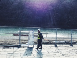 A construction worker by the riverside | Kyoto, Japan (Shot on iPhone 5S)
