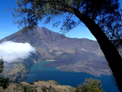 Overlooking Lake Anak Segara from 2600m | Mt Rinjani, Lombok, Indonesia (Shot on Olympus TG-630)